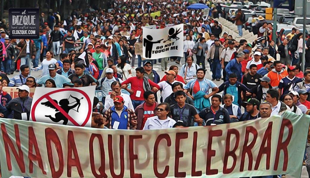 Multitudinaria marcha contra el Día de San Valentín paraliza la Ciudad de México 1