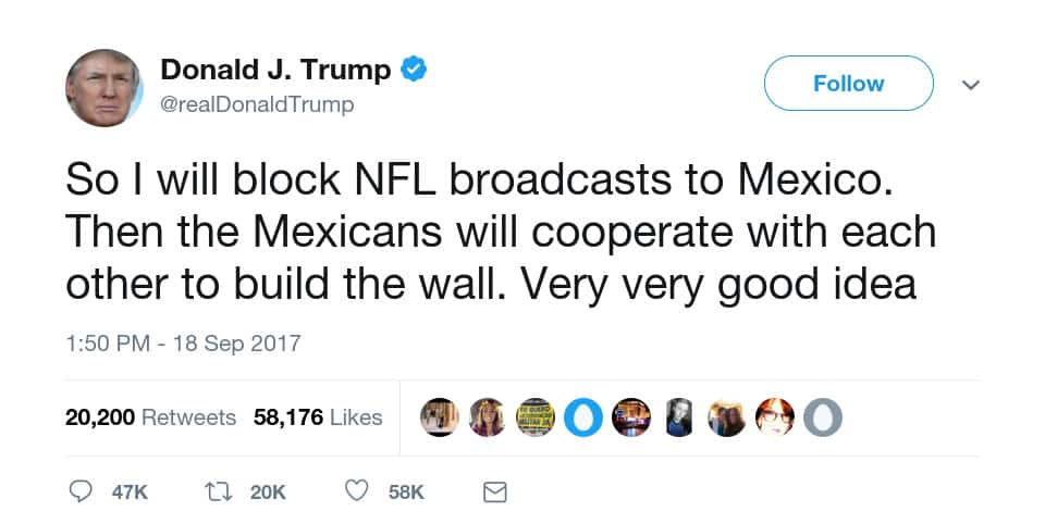 Trump castigará a México: Cancelará todas las transmisiones de la NFL 3