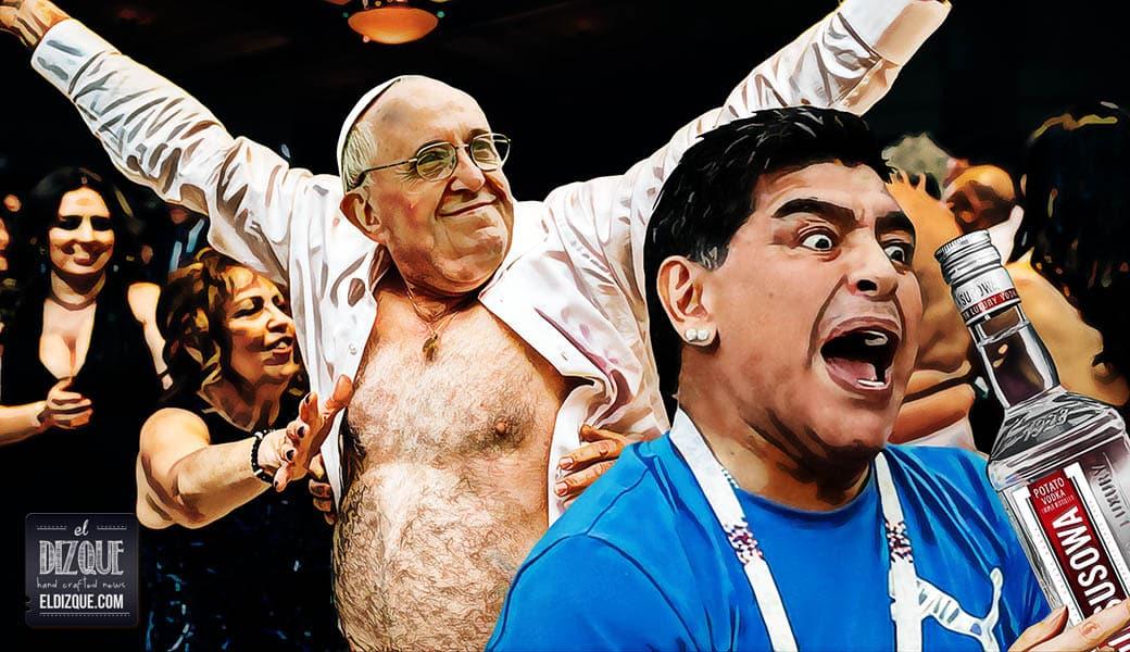 Maradona y el papa Francisco se fueron de parranda tras el partido de Argentina 1