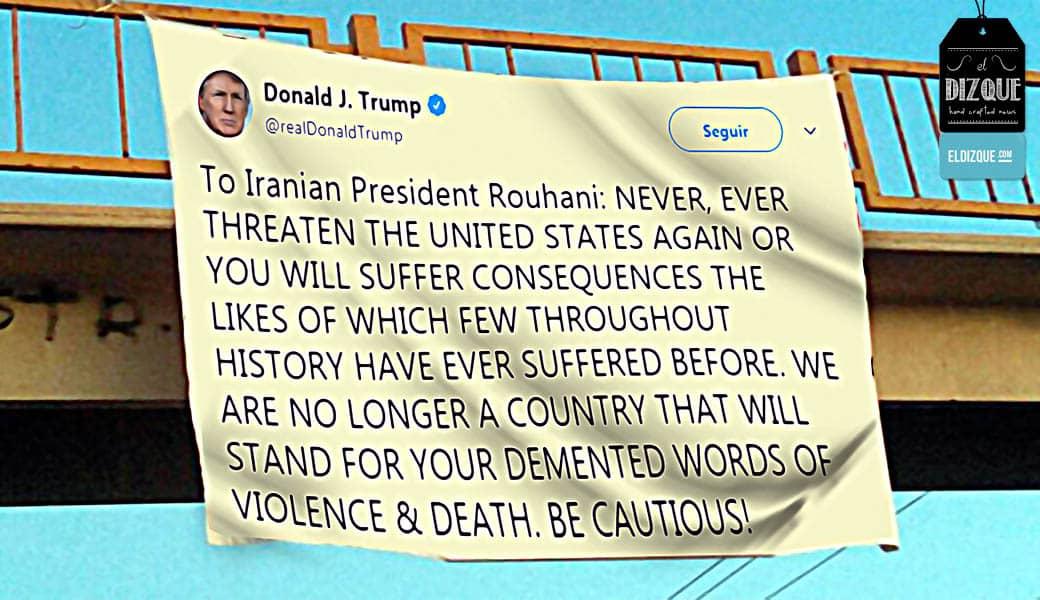 Trump deja narcomanta amenazando al presidente de Irán 1