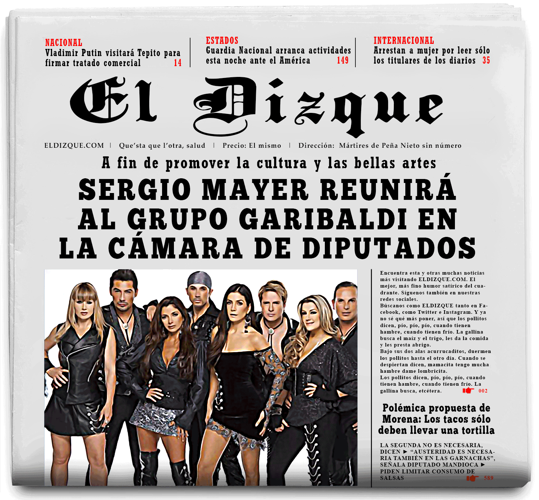 Sergio Mayer reunirá al grupo Garibaldi en la Cámara de Diputados