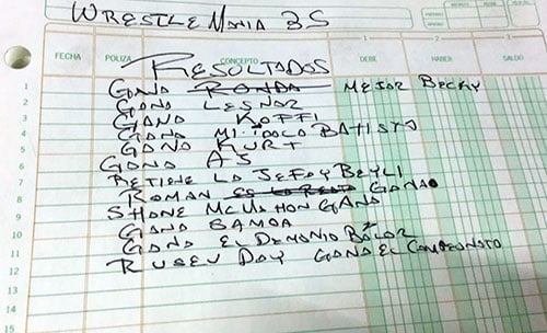 Filtran resultados de WrestleMania: Estaban en la libreta de un ejecutivo 1