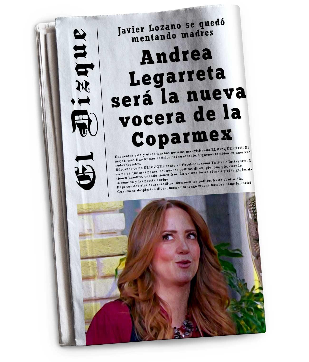 Andrea Legarreta será la nueva vocera de la Coparmex