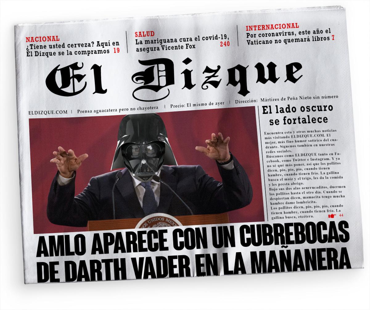 AMLO aparece con cubrebocas de Darth Vader en la mañanera